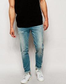 エイソス ASOS メンズ ジーンズ デニムジーパン スキニージーンズ:ASOS Skinny Jeans With Abrasions - Light Blue