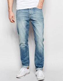 エイソス ASOS メンズ ジーンズ デニムジーパン スリムストレート ジーンズ:ASOS Stretch Slim Jeans In Light Wash - Light Blue