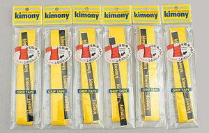 【送料無料】【よりどり3個以上で各200円引き】【同色イエロー6本セット】キモニー(kimony)トップスピン グリップテープイエローKGT112-YL-6SET【定番】