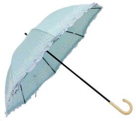 【4500円均一】【よりどり3個で送料無料】日傘 晴雨兼用UVケア加工フリル付 レース柄刺繍スライド式 手開き日傘 47cmブルーHM519326-BL(16★)【廃番】(雨傘)(婦人傘)