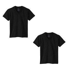 【1000円均一】【廃番】HANES(ヘインズ)XT 1P V-TSHIRTS BOXTシャツ 2枚セットブラックHM1EK201-090-2SET【19☆】