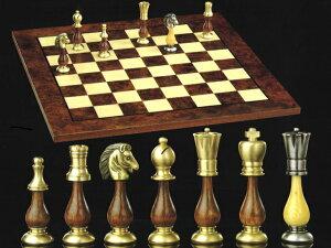 【よりどり3個以上で各200円引き】【イタリアよりお取寄せ】イタリア製ブラス(真鍮)チェスメン&オルモ-チェスボード伝統的なStauntonモデルを真鍮で仕上げたイタリア製チェスとオルモ材モ