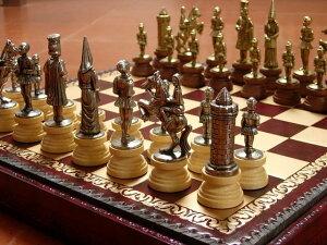 【よりどり3個以上で各200円引き】イタリア製チェスメン&ボックス付きチェスボードセット アーサー王ゆかりの城「キャメロット」camelot  174M221GR