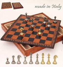 イタリア製チェス&ボックス付チェスボードstaunton ミニヨン・フィオリート 2タイプ展開 ミニサイズ65M 伝統的なStauntonモデルにフィレンツェ風花模様を刻んだデザイン 【$】【定番】
