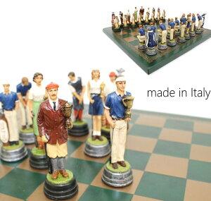 【よりどり3個以上で各200円引き】イタリア製チェスメン&チェスボード【GOLF】R70400-201GV グリーン上でゴルフを愉しむ姿を象ったデザインチェス!