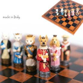 イタリア製イタルファーマチェスメン&チェスボード【ペットチェス】 ワンコ ニャンコ モチーフ 犬好き 猫好きへのプレゼントに! R70701-215board 【定番】