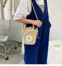 フラワー刺繍かごバッグ巾着バッグかごバッグショルダーバッグハンドバッグバッグカジュアルバッグカジュアル柄花夏シンプルトレンド韓国服