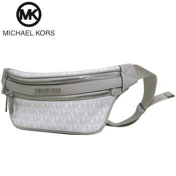 マイケルコースアウトレットMichaelKorsショルダーバッグ35T0SY9N1BPVCMKシグネチャースモールウエストポーチ/ボディーバッグKENLY/SMWAISTPACKXBODY/BRIGHTWHT(オフホワイト系×グレー系)