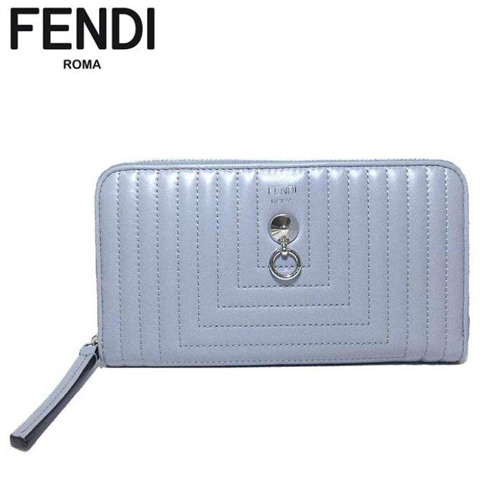 037d8b1f8ca9 フェンディアウトレットFENDI財布8M0299-18F-F04QKレザーラウンドファスナー長財布グレー系