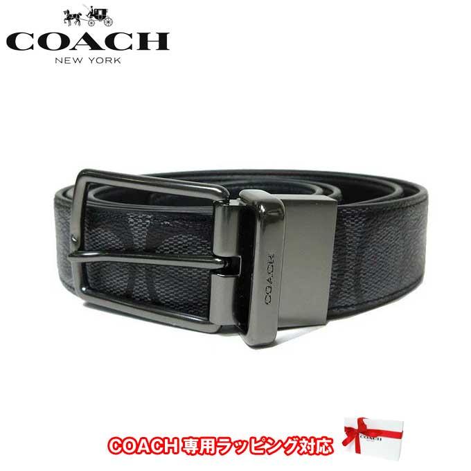 コーチ アウトレット COACH アパレル メンズ F64825 シグネチャー リバーシブル PVC × レザー ベルト CQ/BK(チャコール×ブラック)【ベルト】【メンズ】【RCP】【楽天カード分割】【レディース】