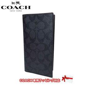 コーチ アウトレット COACH 財布 F25518 PVC シグネチャー ブレスト ポケット ロングウォレット 二つ折り 長財布(小銭入れなし) N3A(ブラック×オックスブラッド)【RCP】【楽天カード分割】【メンズ】