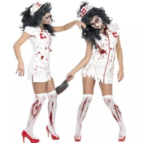 【メール便送料無料】かわいいゾンビナースさん看護婦看護師セクシーコスプレ衣装コスチューム仮装白ホワイト血バンパイヤワンピースセットミニスカート制服
