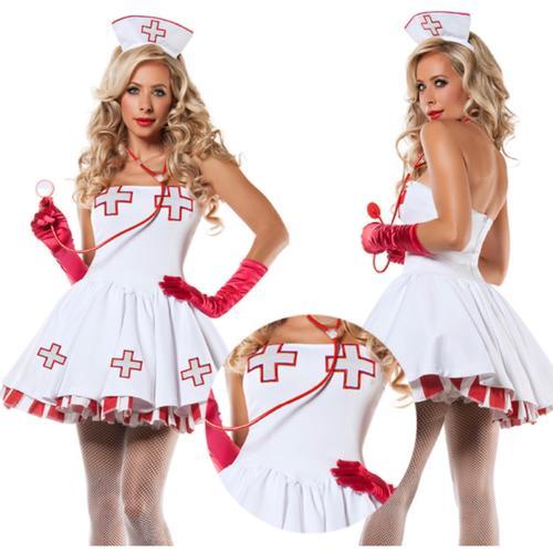 【メール便送料無料】かわいいナースさん看護婦看護師セクシーコスプレ衣装コスチューム仮装白ホワイトストライプ赤レッドワンピースセットミニスカート制服
