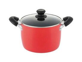 ルピア IH対応シチューポット20cm(LU-20D)4L 深型 両手鍋 煮込み 茹で 蓋付 寸胴 フッ素加工 赤 レッド ギフト カラフル 使いやすい クリスマス xmas