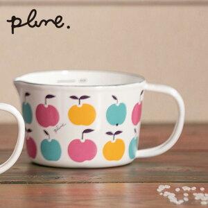 プルーン ホーローメジャーカップ WT(りんごたち)(MC-602)450ml 計量カップ 琺瑯 ほうろう 林檎 リンゴ アップル カラフル 雑貨 フルーツ マーブル かわいい 可愛い オシャレ ホワイト 北欧風 テ