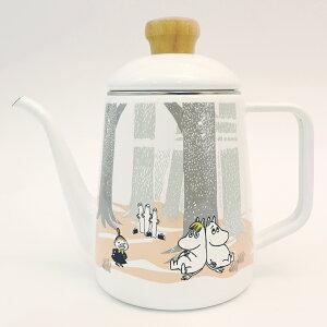ムーミン・イン・ザ・フォレスト ドリップポット1.0L(MTF-1.0DP)琺瑯 ほうろう 薬缶 ヤカン ケトル 湯沸かし お茶 紅茶 コーヒー ティータイム 木柄 ナチュラル 北欧 ペールトーン リトルミィ ニ