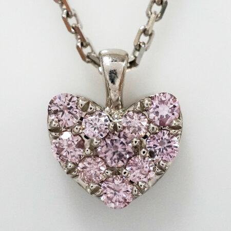 (仮)ピンクダイヤモンドハートモチーフプラチナネックレスP-89