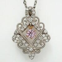 【NEW】天然ピンクダイヤモンドスイングデザインプラチナペンダントP-64・65