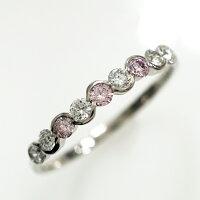 ピンクダイヤダイヤモンドウェーブデザインプラチナリング(R-222)アーガイル産ピンクダイヤモンドレディースジュエリー