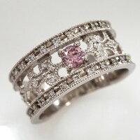 アーガイルピンクダイヤモンドプラチナワイドリング(R-142)0.13カラット/FancyIntensePink/ピンクダイヤモンド専門店<ラビオス>
