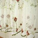 チュールレース&ローズ(薔薇)刺繍 カフェカーテン 約150x45cm【ゆうパケット選択可】 10P18Jun16
