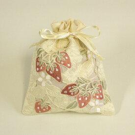 イチゴ刺繍&カットワーク 巾着 約20x16cm