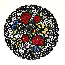 ドイリー(花瓶敷き)約30cmR(円形)カロチャ刺繍調 リシェリュー風カットワーク ハンガリーの民芸刺繍を現代の技術で再現 【ゆうパケット選択可】
