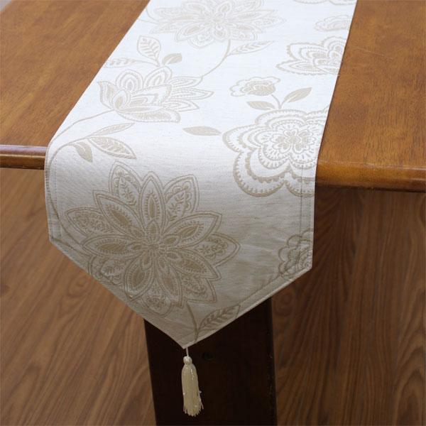 撥水加工テーブルランナー 約30x230cm ボタニカル柄 麻混ジャカード織 【単品の場合のみゆうパケット選択可】