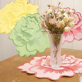 ローズモチーフ ドイリー 約34x39cm 花瓶敷き プレイスマット ランチョンマット いろいろ使える大きな薔薇のアップリケ 【ゆうパケット選択可】