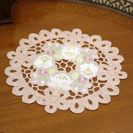 ドイリー(花瓶敷き)約20cmR(円形)【ゆうパケット選択可】 カロチャ調刺繍&カットワーク