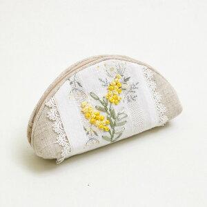 めがねケース ミモザ 約8x18cm 眼鏡ケース 【ゆうパケット選択可】 小花プリント リボン刺繍 ナチュラルテイスト 手刺繍