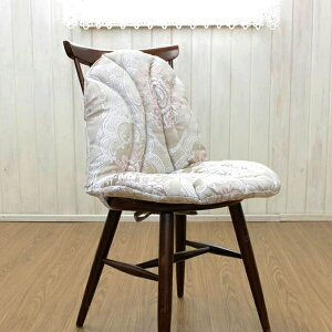 チェアクッション ジャカード織 約48×82cm 花柄 ソフト 固定 ふんわり 華やか ダイニングチェア 学習用椅子 デスクワーク おしゃれ ひも付 背当て