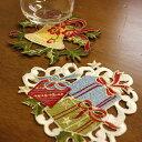 クリスマスコースター(選べる2種類)【ゆうパケット選択可】 カットワーク&刺繍