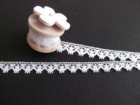 トーションレース 手芸 6mm幅 かわいい*繊細で薄手な綿トーションレース オフW (日本製)(5121)