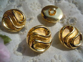 15mmお買い得なゴールドカラーのボタン 4個入りGRB-00152送料最安値は定形郵便82円