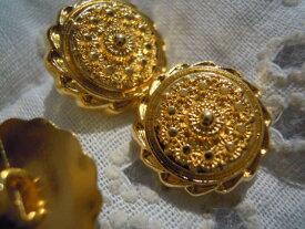 15mmメッチャエレガントなゴールドカラーのボタン 4個入りGRB-00131送料最安値は定形郵便82円