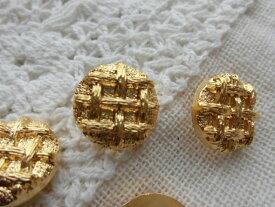 約15mm可愛いワッフルみたいな?ゴールドカラーのボタン 4個入りGRB-00452送料最安値は定形郵便82円