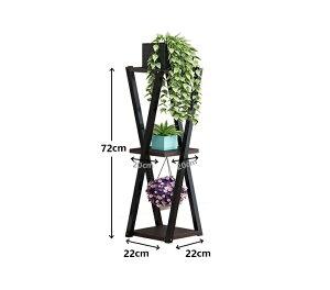フラワースタンドフラワーラック観葉植物花お花室内おしゃれ木製3段ラックガーデニング棚鉢置きスタンドホワイト白ブラック黒ナチュラル木北欧インテリアint-054
