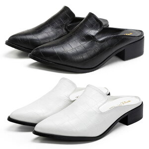 【送料無料】 スリッポン ローファー マニッシュシューズ バブーシュ クロコ型押し 3cmヒール ブラック 黒 ホワイト白 大きいサイズ 3L パンプス おじ靴 レディース靴 tm-155 新作コスプレ 靴
