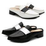 スリッパサンダルバブーシュマニッシュサンダルバブーシュサンダルローヒールサボサンダルミュール靴レディーススリッポンおしゃれかかとなしシューズブラック黒白ホワイトシルバー銀色大きいサイズ3Lレディース靴【P】コスプレ
