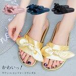 リボンサンダルレディースぺたんこサンダル大きいサイズ3Lレディース靴新作サンダルイエロー黄色ブラック黒tm-132【P】