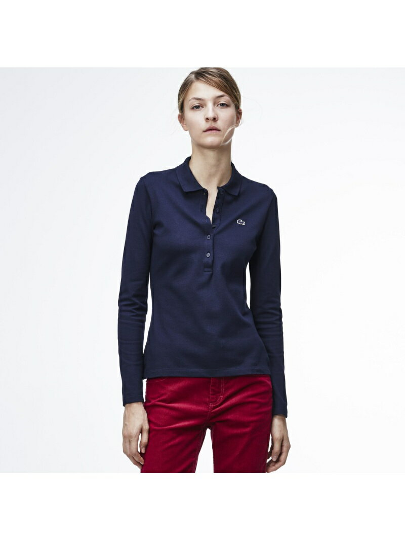 LACOSTE (W)ストレッチ ピケ ポロシャツ (長袖) ラコステ【送料無料】