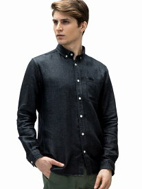 [Rakuten Fashion](M)インディゴ風リネンデニムシャツ (長袖) LACOSTE ラコステ シャツ/ブラウス 長袖シャツ ネイビー ブルー【送料無料】
