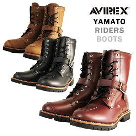 バイク シューズ ブーツ 人気おすすめ カッコいい レザー サイドジッパー 黒 茶 AVIREX(アビレックス) ライダースブーツ YAMATO AV2100 取寄品