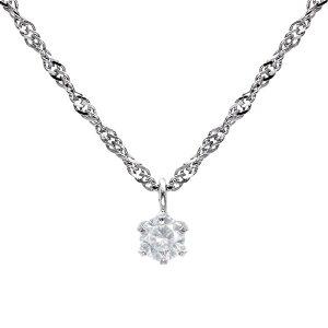 ネックレス レディース 天然ダイヤモンド 0.1ct 6本爪 Pt999 純プラチナ チェーンシルバーシアーズ Sears