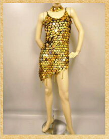 9cebdaa6f5266 ゴールドのコイン風飾りのラテンドレス。脇ファスナー!裏地なし。胸