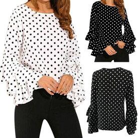 コーラス 衣装 ブラウス 社交ダンス トップス 衣装 MからXXXLサイズ対応 ジョーゼット地シンプル水玉ブラウス 袖部分三段フリルそで 白 黒