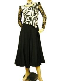 社交ダンスドレス コーラス衣装 演奏会 カラオケ衣装 セパレーツ風幾何柄モダンドレス スカート部分すそ裏にメッシュ芯入り柔らかく広がります 後ろファスナー 黒 マーブル