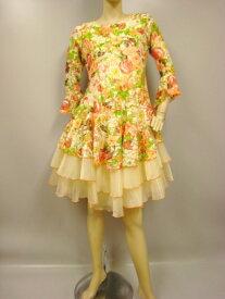 総レース花柄プリントフレアーすそのオーガンジーフリル(ようじゃくたっぷり)ラテンドレス。裏地つき。胸パットなし。 クリーム