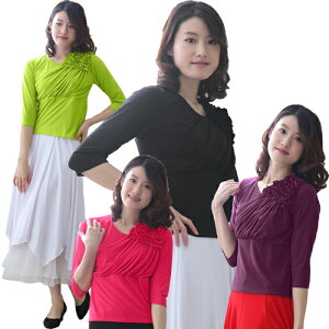 社交ダンス トップス コーラス 衣装 ブラウス 格安 練習着 レディース ダンスウェア 衣装 Mサイズ ピンク 黒 黄緑 パープル